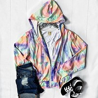 Bright Tie Dye Zip-up Hoodie