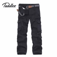 Taddlee Brand Plus Europe size Men Cargo Pants Khaki Casual Camouflage Mens Multi Pocket Pants Long Military Army Work Trousers