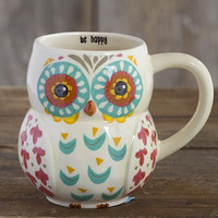 Natural Life Be Happy Owl Mug