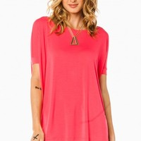 COZY SHORT SLEEVE TEE IN HOT PINK BY PIKO