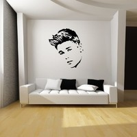 "Justin Bieber Wall Art (22"" W x 25"" H) Black Vinyl Decal Sticker Mural Graphic for Beliebers"