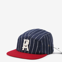 New England Pinstripe Five Panel Hat in Navy