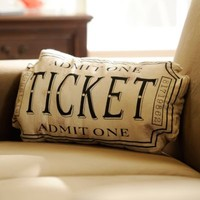 Black Movie Ticket Accent Pillow