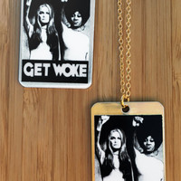Get Woke Feminist Necklace in Aluminum or Brass