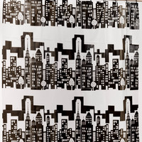 """Royal Bath 5 Gauge PEVA Non-Toxic Print Shower Curtain Liner with Built in Hooks(70"""" x 72"""") - Cityscape"""
