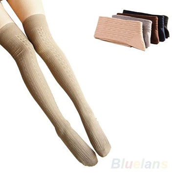 Cotton Women Girls Knit Over Knee Thigh Stockings High Socks Pantyhose Tights = 1958062724