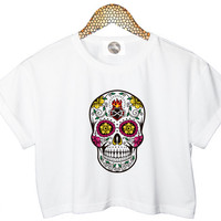 FLORAL SKULL crop TOP cropped tshirt womens ladies fashion retro vtg handmade funny style tumblr cool xs s m l cute floral summer punk indie