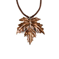 Leaf Necklace, Leaf Pendant, Maple Leaf Necklace, Wooden Leaf Pendant, Wood Leaf Necklace, Leaf Jewelry, Wood Jewelry, Hand Carved Pendant