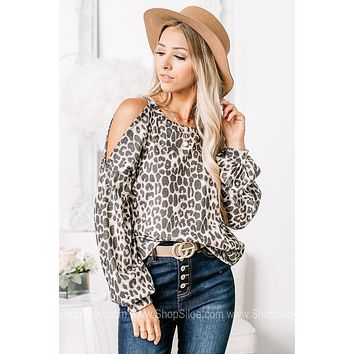 From The Fierce Side Cold Shoulder Cheetah Top