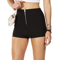 SALE-Black High Waisted Zip Back Shorts