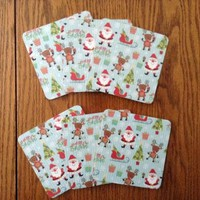 6 Christmas Drink Coasters With Santa, Reindeer, Sleigh, Gifts And Tree Print On Light Blue Background, Christmas Decor, Holiday Housewares
