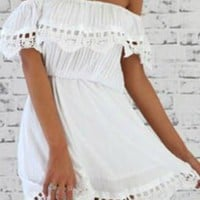 White Off-The-Shoulder Lace Crochet Flouncing Dress