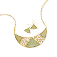 Ornate Green Crescent Shape Fashion Necklace and Earring Set