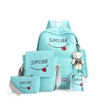 Women Canvas 5Set Backpack Printing Students Bookbag 5 Pcs School Bag Set For Youth Girls With Purse Bear Mochila