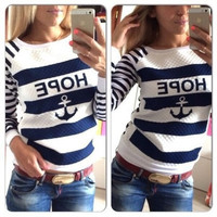 SIMPLE - Fashionable Stripes Floral Women Round Necked Shirt Top b4279