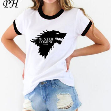 New women's t-shirt Game of Thrones Winter is coming stark funny humor Casual t shirt for woman summer tshirt women clothing