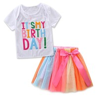 Baby Girls Birthday Outfit Set Letters T-shirt Colorful Rainbow Tutu Skirts Children Clothing Kids Tracksuit for Girls Clothes
