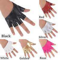 NIce Half Finger Fingerless  PU Leather Gloves Ladys Driving Show Pole Dance