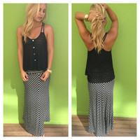 Black & White Stripe Maxi Skirt