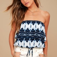 Ukelele Solo Navy Blue Tie-Dye Strapless Crop Top