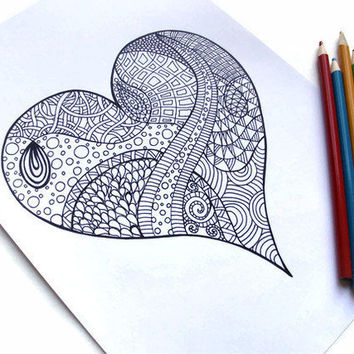 Set Hand drawn hearts in zentangle style. Pattern for coloring ... | 354x354