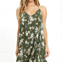 O'Neill Crimson Olive Green Floral Print High-Low Dress