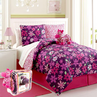 Floral Zebra Bed in a Bag 7-Piece Twin Set