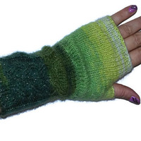 HAND KNITTED GLOVES Fingerless Mittens,Multicolored  arm warmers Handmade knitted Cable Gloves Sparkle Fingerless gloves in bohemian style