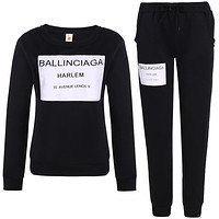 Balenciaga Fashion Print Top Sweater Pullover Drawstring Pants Trousers Set Two-Piece