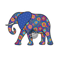 Elephant Car Decal - Blue Floral Colorful Bumper Sticker Laptop Decal Pink Green Teal