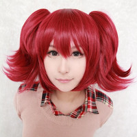 Dark Wine Red Black Butler Mey Rin Anime Cosplay Pigtails Wig,Colorful Candy Colored synthetic Hair Extension Hair piece 1pcs WIG-034A
