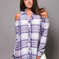 On Point - Plaid Cold Shoulder Button Up