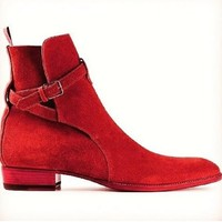 Handmade Jodhpurs Ankle Boot, Men Red Ankle High Suede Leather Boot, Mens Boot