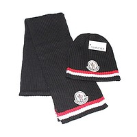 Supergirls22 Moncler Autumn Winter Popular Women Men Knit Warmer Hat Cap Scarf Set Black