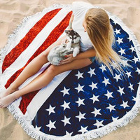 Cilected Round American Flag Beach Towel With Tassels Large USA Flag Printed Circle Sun Bath Towel Yoga Mat Tapestry