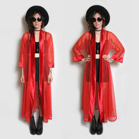 70s Red Sheer Robe // 70s Lingerie // 80s Lingerie // Sheer Robe // Sheer Duster // Vampire Cloting // Witch Clothing // Witchy // Grunge