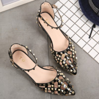 Summer new style rivet heel shoes with pointed women's shoes, baotou sandal women's shoes, and a word with riveted sandals