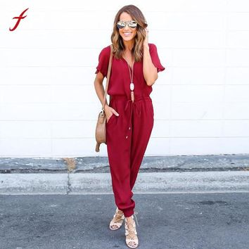 Sexy Women Chiffon Short Sleeve Clubwear Playsuit Bodycon Tied Waist Party Pockets Office Rompers Women Jumpsuit Female Overalls