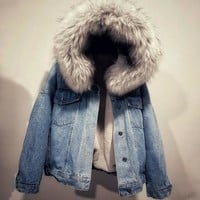 New 2018 Women Winter Coats Casual Loose Harajuku Denim Padded Jacket Woman Hooded Faux Fur Collar Wool Liner Jeans Jackets