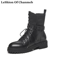 New Waterproof Platformed Dr. Martins Boots for Women Lace up Combat Boots Ladies Rock Studded Punk Street Boots Motorcycle Boot