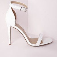 Missguided - Barely There Strappy Heeled Sandals White Croc