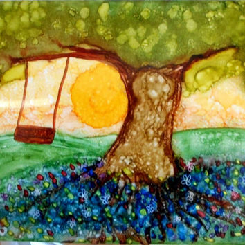 Tile Art Painting Alcohol Ink Tree Swing 6 x 8 inches SFA