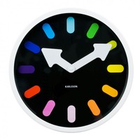 Online Interior Design   Let the Pictogram Rainbow Wall Clock from Karlsson point you in the right direction all the time in the shape of striking multicoloured hour marks with bold white arrow hand dials. Effortlessly combining contrasting colo