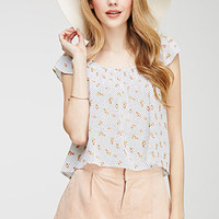 Dotted Floral Tulip-Back Top