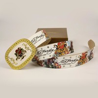 ED HARDY Men Fashion Smooth Buckle Belt Leather Belt-5