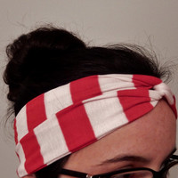 Womens knit Head Bands - Red White Stripes