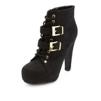 LACE-UP SUEDED BOOTIE