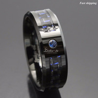 Black and blue Carbon Fiber Tungsten Ring Blue Mens jewelry Wedding Band Free Shipping