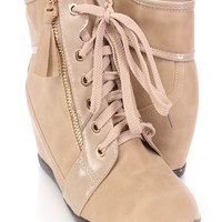 Beige Zipper Detailed Lace Up Sneaker Wedges Faux Leather
