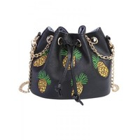 Pineapple Embroidered Chain String Bucket Bag